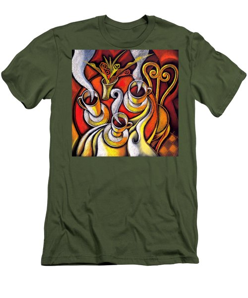 Men's T-Shirt (Slim Fit) featuring the painting Coffee Cups by Leon Zernitsky