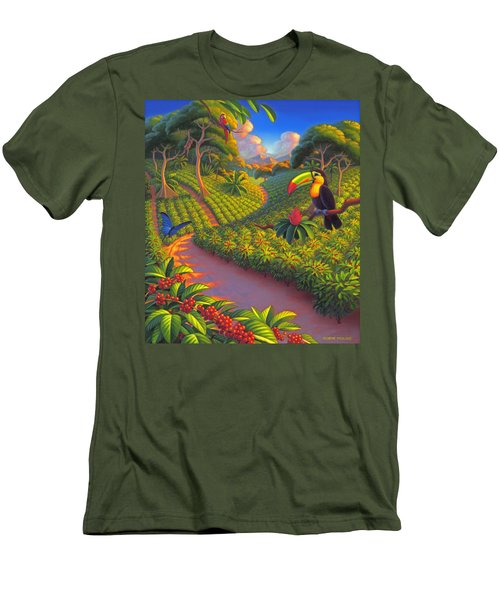 Coffee Plantation Men's T-Shirt (Slim Fit) by Robin Moline