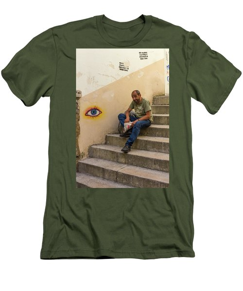 Men's T-Shirt (Slim Fit) featuring the photograph Coimbra  Local  by Patricia Schaefer