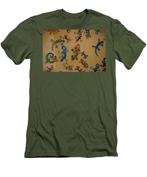 Men's T-Shirt (Slim Fit) featuring the photograph Color Lizards On The Wall by Rob Hans