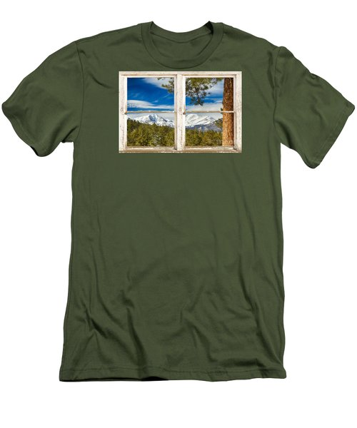 Colorado Rocky Mountain Rustic Window View Men's T-Shirt (Slim Fit) by James BO  Insogna