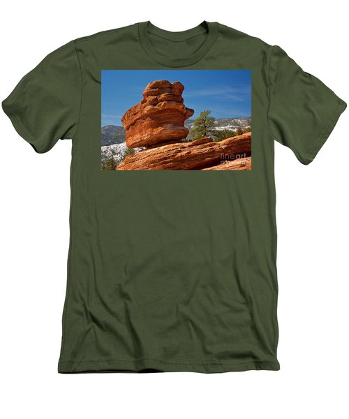 Men's T-Shirt (Slim Fit) featuring the photograph Colorado Springs Balanced Rock by Adam Jewell