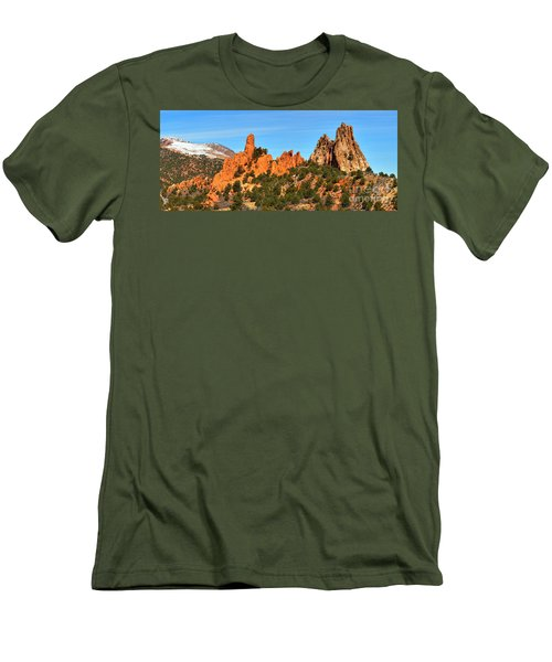 Men's T-Shirt (Slim Fit) featuring the photograph Colorado Springs Garden Of The Gods High Point Panorama by Adam Jewell