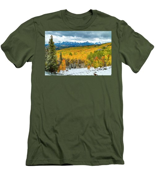 Colorado Valley Of Autumn Color Men's T-Shirt (Slim Fit) by Teri Virbickis