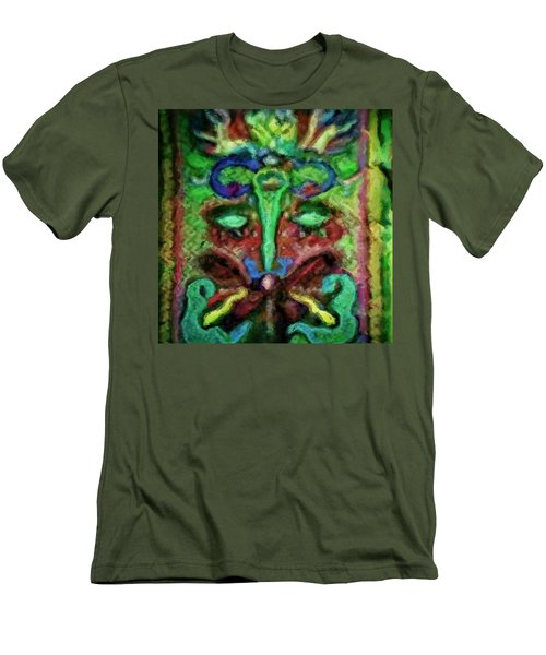 Men's T-Shirt (Slim Fit) featuring the painting Colorful Abstract Painting Swirls And Dabs And Dots With Hidden Meaning And Secret Stories Of Birds  by MendyZ