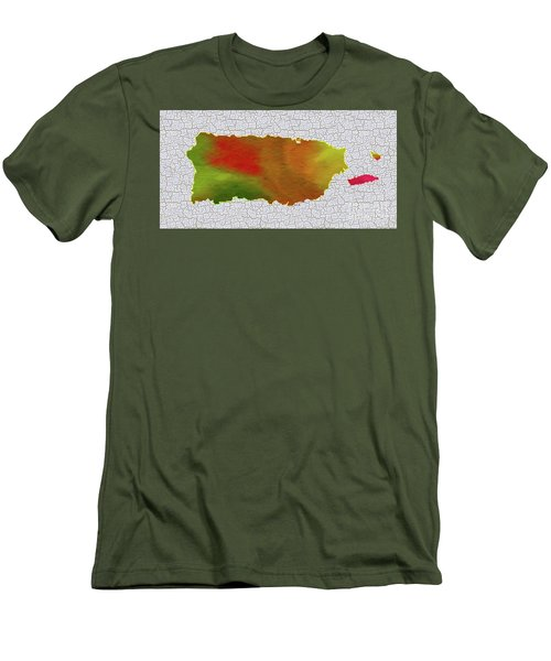 Colorful Art Puerto Rico Map Men's T-Shirt (Slim Fit) by Saribelle Rodriguez