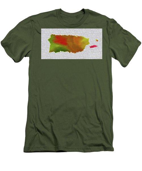 Colorful Art Puerto Rico Map Men's T-Shirt (Athletic Fit)