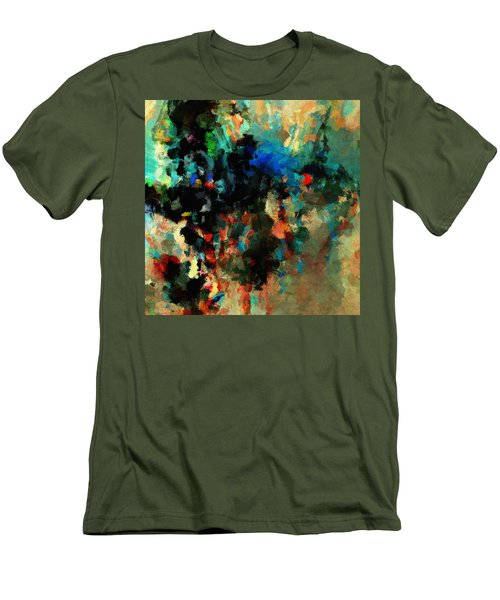Men's T-Shirt (Slim Fit) featuring the painting Colorful Landscape / Cityscape Abstract Painting by Ayse Deniz