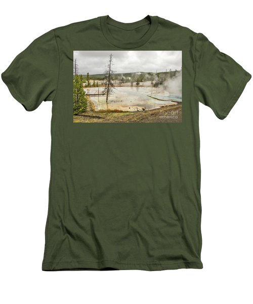Men's T-Shirt (Athletic Fit) featuring the photograph Colorful Thermal Pool by Sue Smith