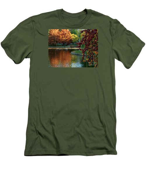 Men's T-Shirt (Slim Fit) featuring the photograph Colorful Trees Boston by Haleh Mahbod