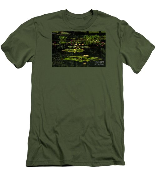 Men's T-Shirt (Slim Fit) featuring the photograph Colorful Waterlily Pond by Barbara Bowen