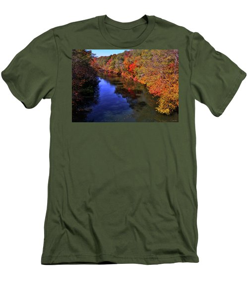 Colors Of Nature - Fall River Reflections 001 Men's T-Shirt (Slim Fit) by George Bostian