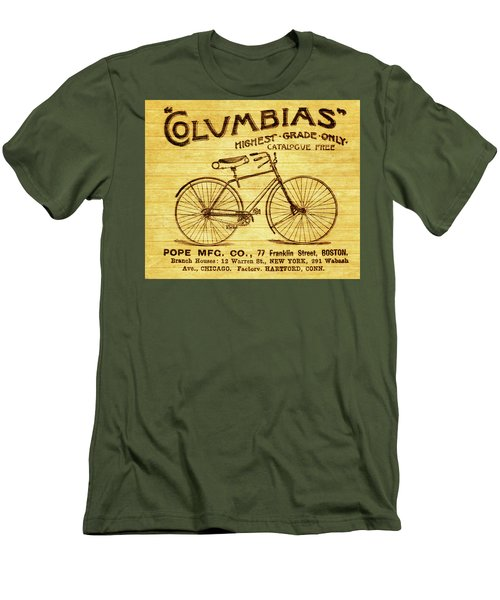 Men's T-Shirt (Slim Fit) featuring the mixed media Columbia Bicycle Vintage Poster On Wood by Dan Sproul