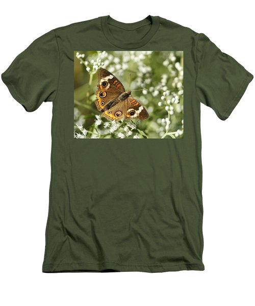 Common Buckeye Butterfly On White Thoroughwort Wildflowers Men's T-Shirt (Athletic Fit)