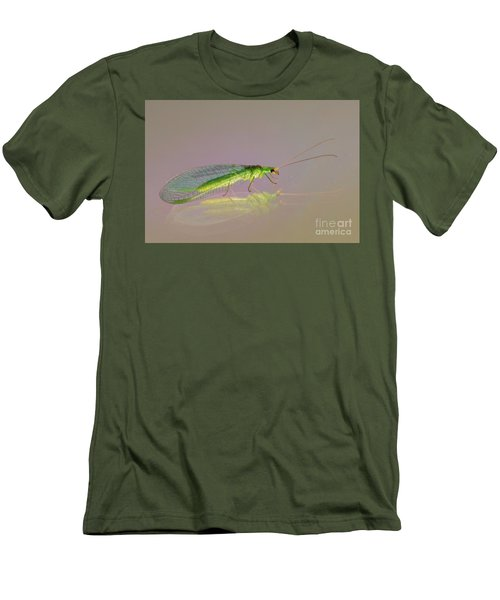 Common Green Lacewing - Chrysoperla Carnea Men's T-Shirt (Slim Fit) by Jivko Nakev