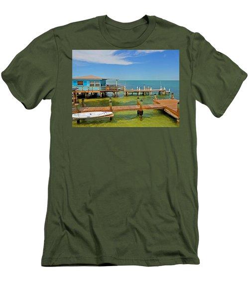 Conch Key Blue Cottage 3 Men's T-Shirt (Athletic Fit)