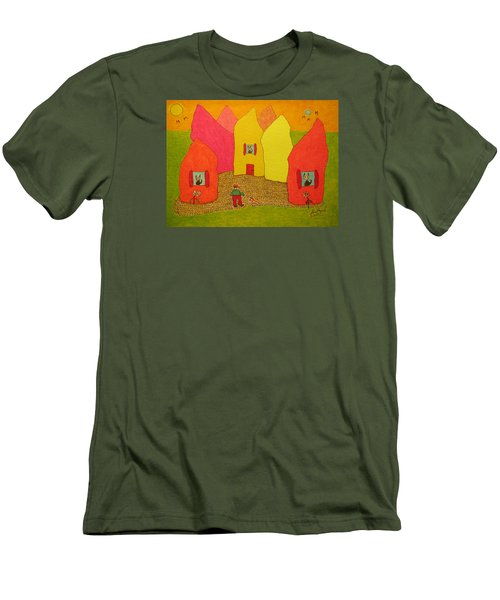 Cone-shaped Houses Man With Dog Men's T-Shirt (Athletic Fit)