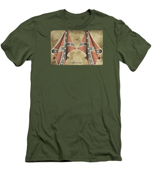 Men's T-Shirt (Slim Fit) featuring the digital art Confederate Flags by Melissa Messick