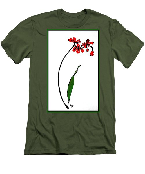 Men's T-Shirt (Slim Fit) featuring the painting Contemporary Orchids by Marsha Heiken