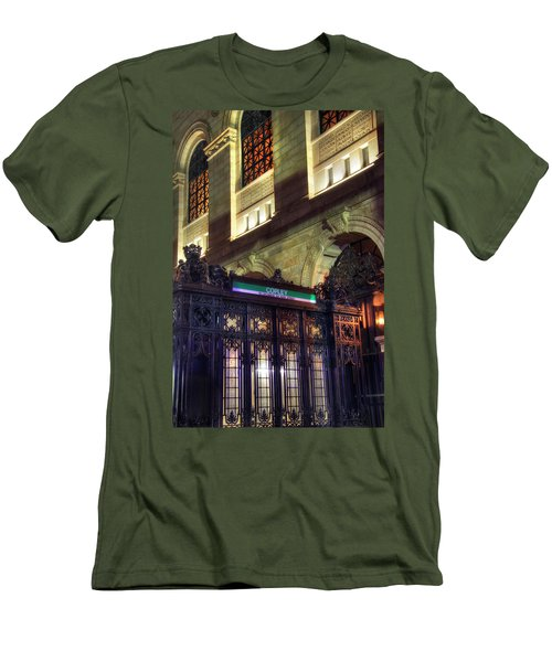 Men's T-Shirt (Slim Fit) featuring the photograph Copley Square T Stop - Boston by Joann Vitali