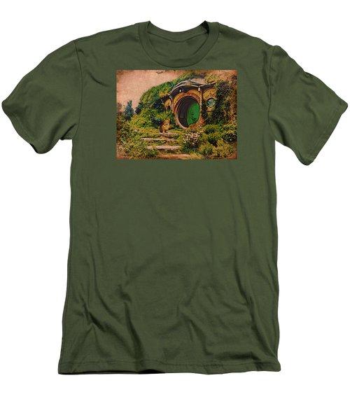 Corgi At Hobbiton Men's T-Shirt (Slim Fit) by Kathy Kelly