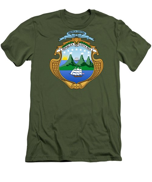 Costa Rica Coat Of Arms Men's T-Shirt (Slim Fit) by Movie Poster Prints