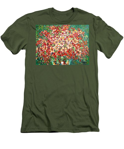 Men's T-Shirt (Slim Fit) featuring the painting Cottage Garden Flowers by Natalie Holland