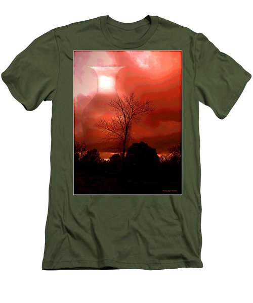 Men's T-Shirt (Slim Fit) featuring the photograph Cottonwood Crimson Sunset by Joyce Dickens