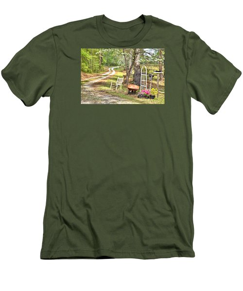 Men's T-Shirt (Slim Fit) featuring the photograph Country Driveway In Springtime by Gordon Elwell