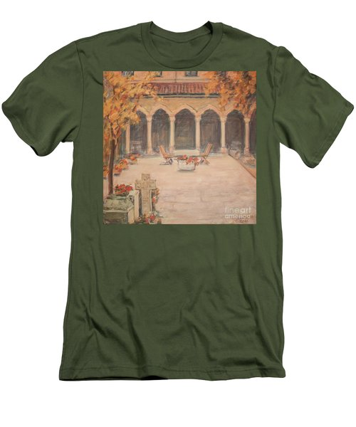 Men's T-Shirt (Slim Fit) featuring the painting Courtyard Of Stravopoleos Church by Olimpia - Hinamatsuri Barbu