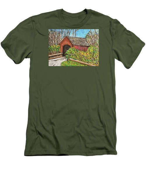 Covered Bridge Men's T-Shirt (Slim Fit) by Reb Frost