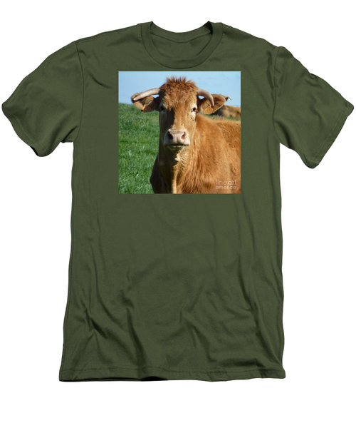 Cow Portrait Men's T-Shirt (Slim Fit) by Jean Bernard Roussilhe