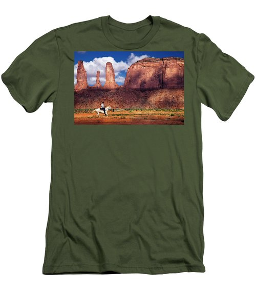 Men's T-Shirt (Slim Fit) featuring the photograph Cowboy And Three Sisters by William Lee