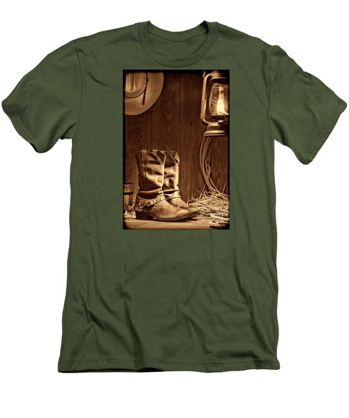 Cowboy Boots At The Ranch Men's T-Shirt (Slim Fit) by American West Legend By Olivier Le Queinec