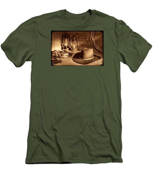 Cowboy Hat And Kerosene Lanterns Men's T-Shirt (Slim Fit) by American West Legend By Olivier Le Queinec