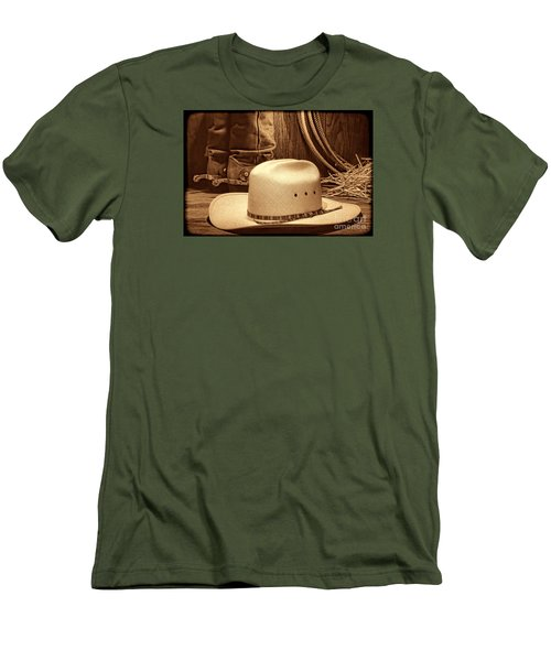 Cowboy Hat With Western Boots Men's T-Shirt (Slim Fit) by American West Legend By Olivier Le Queinec