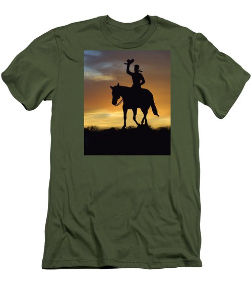 Cowboy Slilouette Men's T-Shirt (Slim Fit) by Linda Phelps