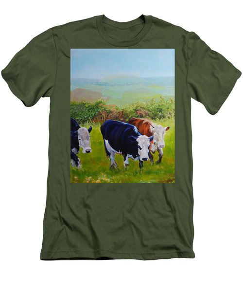 Cows And English Landscape Men's T-Shirt (Athletic Fit)