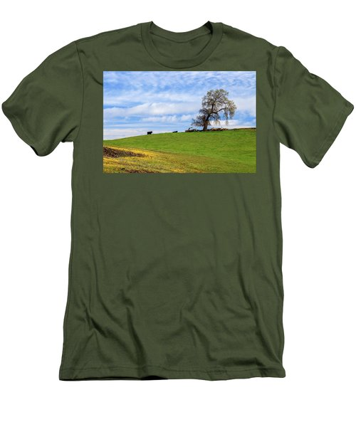 Men's T-Shirt (Athletic Fit) featuring the photograph Cows On A Spring Hill by James Eddy
