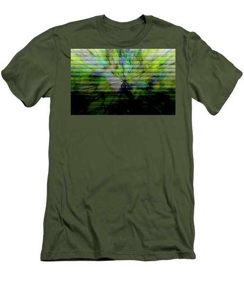 Cracked Abstract Green Men's T-Shirt (Slim Fit) by Carol Crisafi