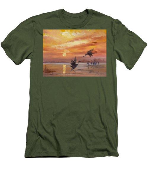 Cranes - Golden Sunset Men's T-Shirt (Slim Fit) by Irek Szelag