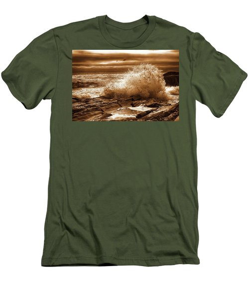 Crashing Wave Hdr Golden Glow Men's T-Shirt (Slim Fit) by Sherman Perry
