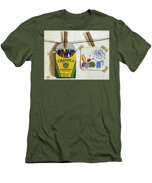 Crayola Crayons And Drawing Realistic Still Life Painting Men's T-Shirt (Slim Fit) by Linda Apple