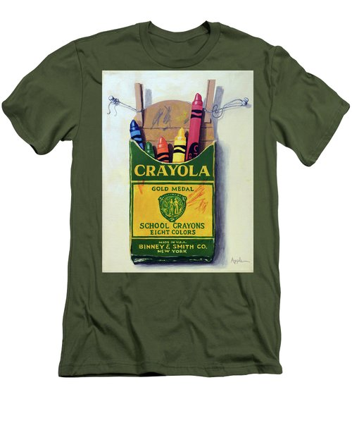Crayola Crayons Painting Men's T-Shirt (Slim Fit) by Linda Apple