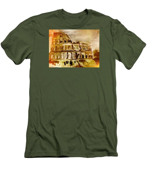 Men's T-Shirt (Slim Fit) featuring the painting Crazy Colosseum by Denise Tomasura