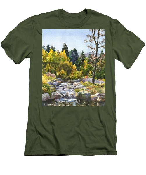 Men's T-Shirt (Slim Fit) featuring the painting Creek At Caribou Ranch by Anne Gifford