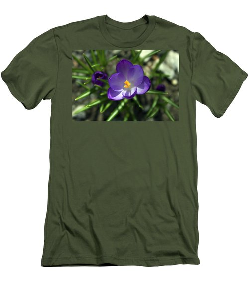 Men's T-Shirt (Slim Fit) featuring the photograph Crocus In Bloom #1 by Jeff Severson