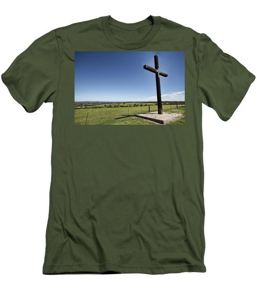 Cross On The Hill V3 Men's T-Shirt (Slim Fit) by Douglas Barnard