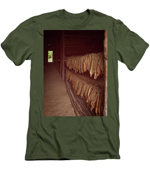 Men's T-Shirt (Slim Fit) featuring the photograph Cuban Tobacco Shed by Joan Carroll