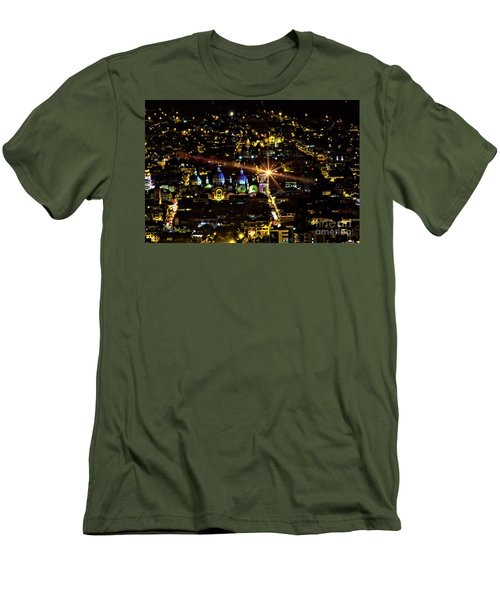 Men's T-Shirt (Slim Fit) featuring the photograph Cuenca's Historic District At Night by Al Bourassa